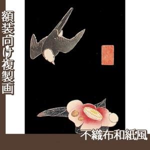 伊藤若冲「花鳥版画(六枚) 五.椿に白頭図」【複製画:不織布和紙風】