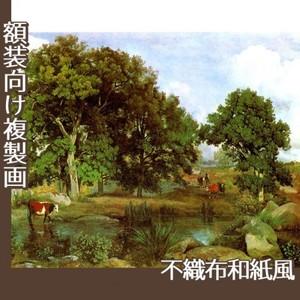 コロー「フォンテーヌブローの森の光景」【複製画:不織布和紙風】
