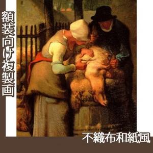 ミレー「羊の毛を刈り取る人たち」【複製画:不織布和紙風】