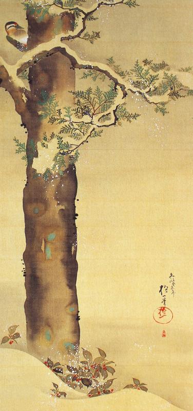 十二ヶ月花鳥図(十二月檜に啄木鳥図)