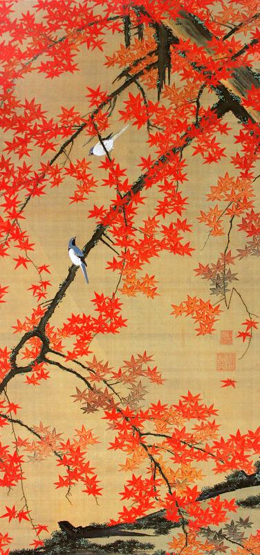 紅葉小禽図